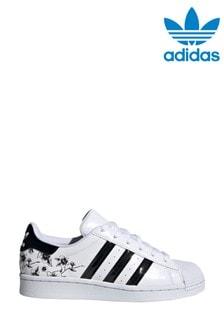 adidas Originals White Print Superstar Youth Trainers