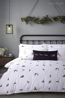 """Komplet poszewek na kołdrę i poduszki """"Home for Christmas"""" Sophie Allport"""