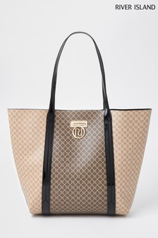 River Island Brown Lock Monogram Shopper Bag