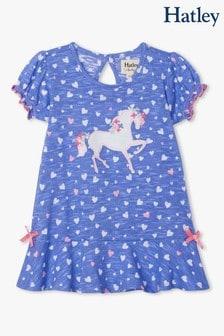 Hatley Baby Kleid mit Einhorn und Rüschensaum, Violett