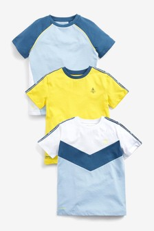 3 Pack Colour Block Short Sleeve T-Shirts (3-16yrs)