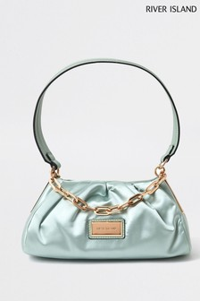 River Island Green Light Rouched Satin Bag