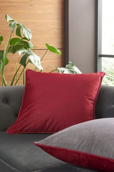 Red/Grey Mila Twin Velvet Square Cushion