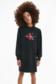 Calvin Klein Black Overlapping Monogram Dress