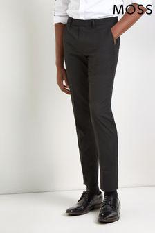 Moss London Skinny Fit Machine Washable Black Plain Trousers