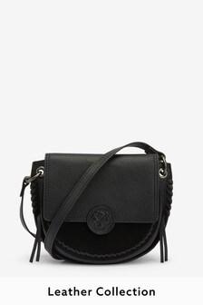 Кожаная седловидная сумка с декоративными швами и тиснением