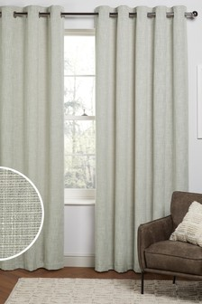 Sage Green Fine Bouclé Eyelet Lined Curtains