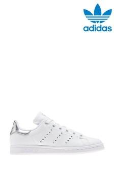 Бело-серебристые кроссовкиadidas Originals Stan Smith (для подростков)