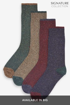 Signature Socks With Wool And Silk Four Pack