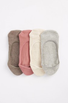 Ribbed Invisible Socks 4 Pack