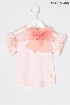 River Island Pink Light Organza Bow Frill T-Shirt