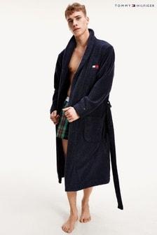 Tommy Hilfiger藍色毛巾布睡袍