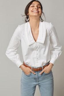 Lace Trim Collar Shirt