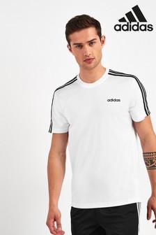 adidas ホワイト D2M 3 ストライプ Tシャツ