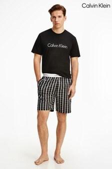 Calvin Klein黑色現代棉質彈力睡衣套裝