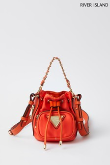 River Island Orange Mini Nylon Duffle Bag