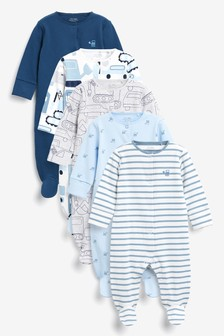 5 Pack Printed Sleepsuits (0-2yrs)