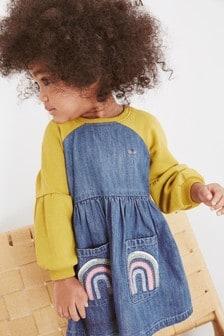 Джинсовое платье с рукавами реглан и вышивкой (3 мес.-7 лет)