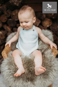 The Little Tailor Blue Knitted Baby Romper