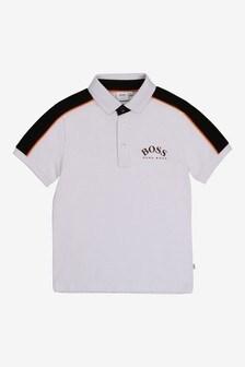 BOSS Polohemd mit Logo, Weiß