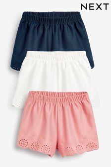 Трикотажные шорты с вышивкой, 3 шт. (3 мес.-8 лет)