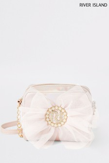 River Island Pink Light Metallic Pearl Bow Cross Body Bag