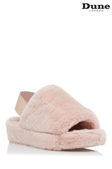 Розовые пушистые тапочки с ремешком через пятку Dune London Wynnie