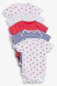 5 Pack Strawberry Short Sleeve Bodysuits (0mths-3yrs)
