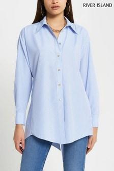 River Island Blue Stripe Hemd mit Rückenausschnitt