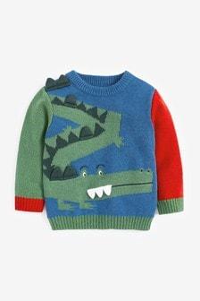 Джемпер в стиле колор блок с крокодилом (3 мес.-7 лет)