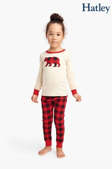 Hatley Karierter Kinderschlafanzug mit Büffel-Applikation