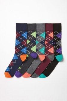 菱格紋襪子五雙一組