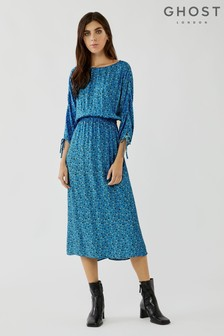 שמלה מבד קרפ עם הדפס של Ghost דגם Olivia Mila Bloom