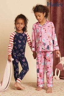 Hatley Candy Cane Hearts Pyjama-Set mit Raglanärmeln aus Bio-Baumwolle