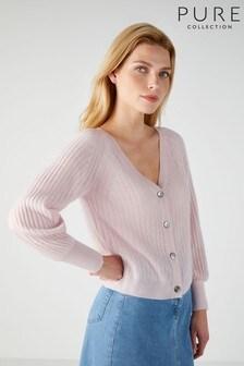 Pure Collection - Gassato - Cardigan rosa a coste con maniche a sbuffo