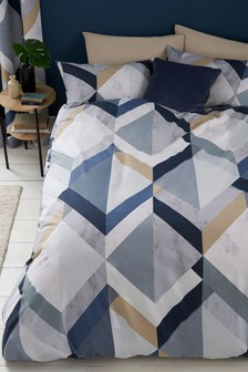 Overscale Marble Effect Geo Duvet Cover and Pillowcase Set