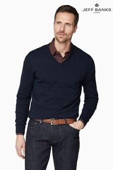 Jeff Banks Blue Men's Knitted V-Neck Sweater