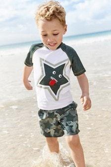 Комплект из спортивного топа и пляжных шорт со звездным рисунком (3 мес.-7 лет)