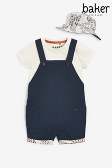 Baker by Ted Baker Navy Dungaree And Bodysuit Set