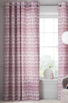 Pink Tie Dye Blackout Eyelet Curtains