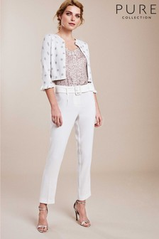Pure Collection White Crepe Slim Leg Belted Trousers