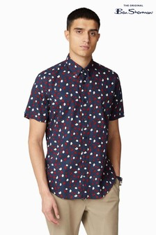 Ben Sherman® Navy Short Sleeve Hand Painted Print Shirt