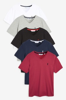 Logo V-Neck T-Shirts Five Pack