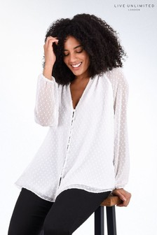 Live Unlimited White Dobby Blouse with Frill Sleeve