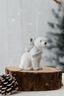 White Polar Bear Family Bauble