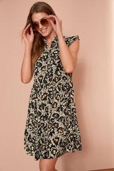 Каскадное мини-платье с оборками