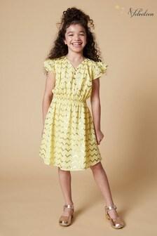 Velveteen Yellow Julieta Frill Dress