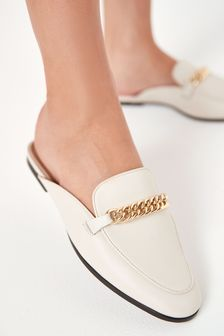 Forever Comfort® Leather Hardware Loafer Mules