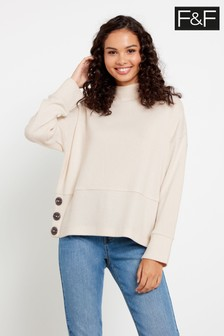 F&F Cream Button Sweater