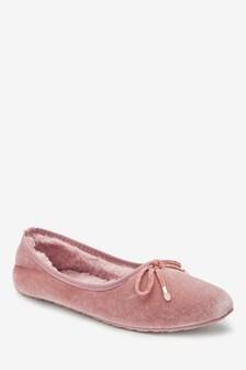 Zamatové balerínkové papuče